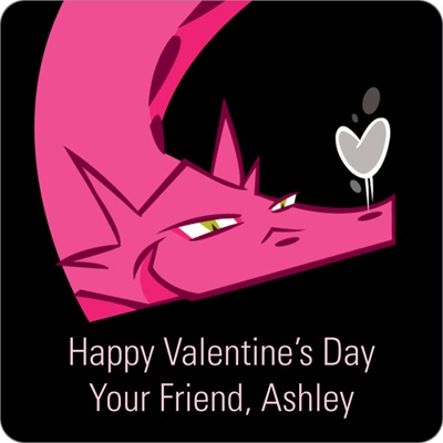 Dragon Puff in Pink Valentine's Day Personalized Stickers