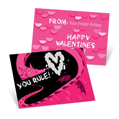 Dragon Puff in Pink -- Valentine's Day Cards for Kids