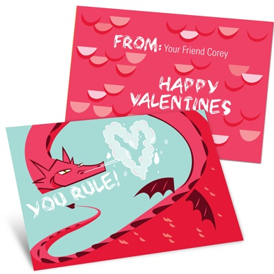 Dragon Puff in Red -- Kids Valentine's Day Cards