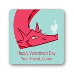 Dragon Puff in Red -- Valentine's Day Personalized Stickers