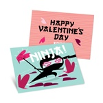 Ninja Action in Blue -- Kids Valentine's Day Cards