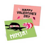 Ninja Action in Green -- Kids Valentine's Day Cards