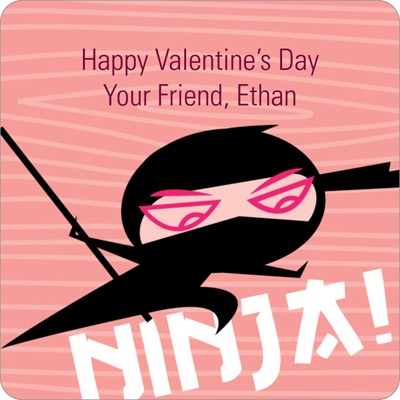 Ninja Power Valentine's Day personalized stickers