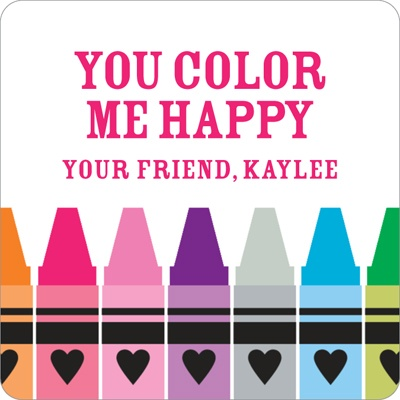 Color Me Happy Valentine's Day Personalized Stickers