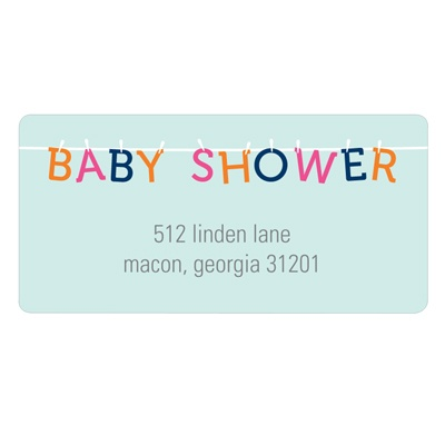 Colorful Clothespins Baby Shower Address Labels