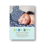 Hanging Letters in Blue -- Baby Boy Photo Birth Announcements