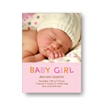 Hanging Letters in Pink -- Baby Girl Photo Birth Announcements