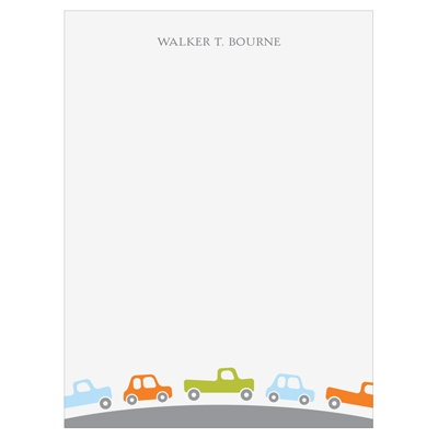 Cars and Trucks Traffic Vertical Kids Stationery