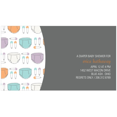 Pins and Diapers Baby Shower Invitations