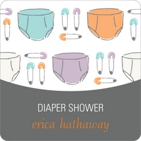Pins and Diapers Stickers -- Baby Shower Favor Tags