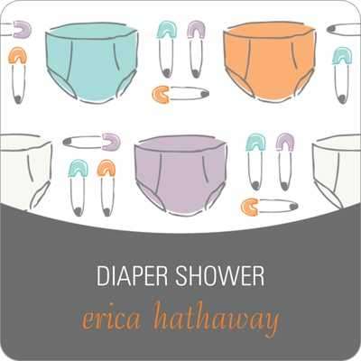 Pins and Diapers -- Baby Shower Favor Stickers