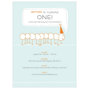 Inching Caterpillar -- Modern Birthday Invitations