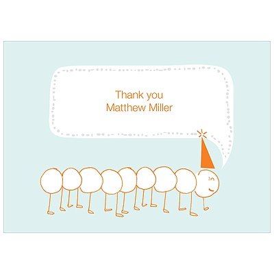 Inching Caterpillar -- Kids Thank You Cards