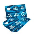 Cool Blue Camouflage -- Valentine's Day Sticker Set
