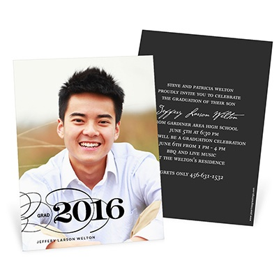 Sophisticated Swirls -- Vertical Photo Graduation Invitation