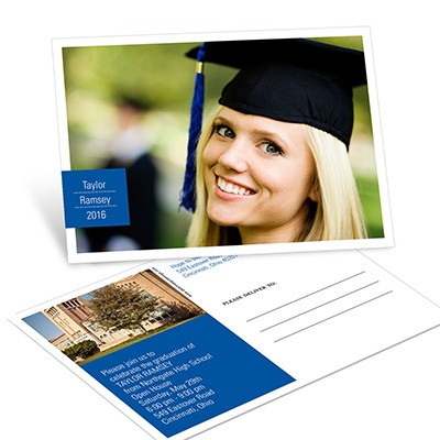 All About Grad -- Horizontal Graduation Postcard Invitations