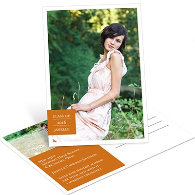 All About Grad -- Vertical Graduation Postcard Invitations