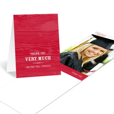 Wood Grain Chic Graduation Thank You Cards