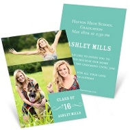 Party On Vertical Mini Graduation Announcements