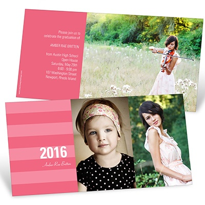 Stunning Stripes Horizontal Graduation Announcements