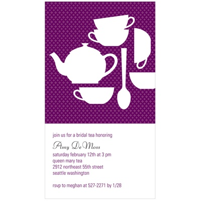 Tea Time Tea Party Bridal Shower Invitations