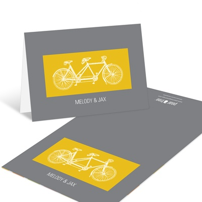 Built for Two in Yellow Modern Wedding Thank You Cards
