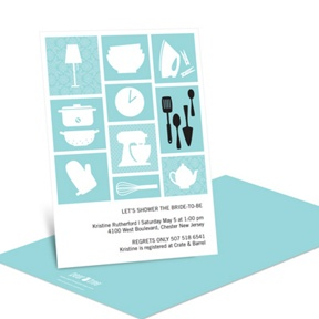 All Things Kitchen in Blue -- Kitchen Bridal Shower Invitations