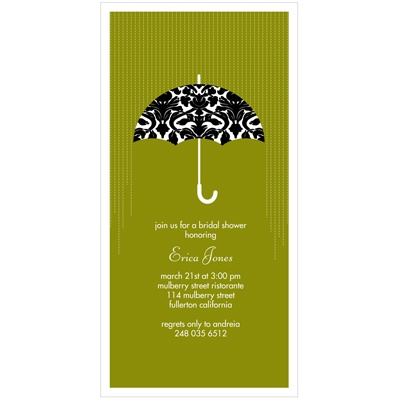 Raining Love Umbrella Bridal Shower Invitations