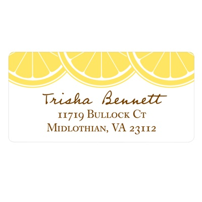 Sweet Lemon Slices Bridal Shower Address Labels