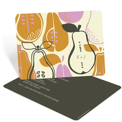 Pear Pattern -- Couples Bridal Shower Invitations