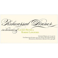 Flowing Calligraphy Elegant Rehearsal Dinner Invitations
