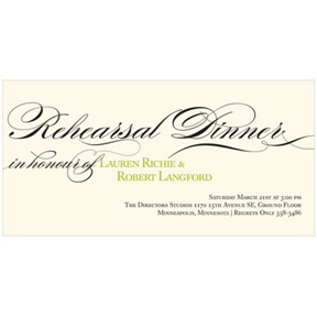Flowing Calligraphy -- Elegant Rehearsal Dinner Invitations