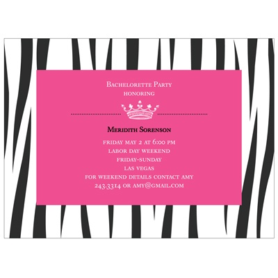 Wild Side Zebra Print - Bachelorette Party Invitations