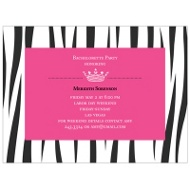 Wild Side Zebra Print Bachelorette Party Invitations
