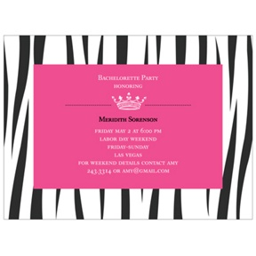 Wild Side Zebra Print -- Bachelorette Party Invitations