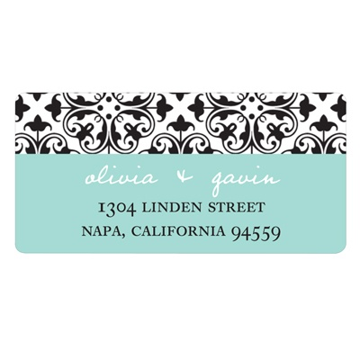Mirrored Renaissance Design Stylish Wedding Address Label