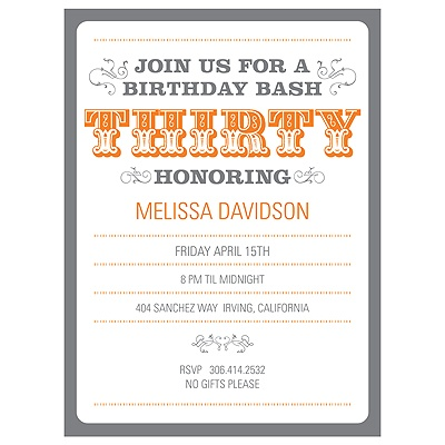 The Big 3-0 -- 30th Birthday Party Invitations