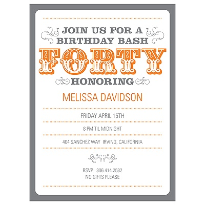 The Big 4-0 40th Birthday Party Invitations