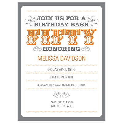 The Big 5-0 50th Birthday Party Invitations