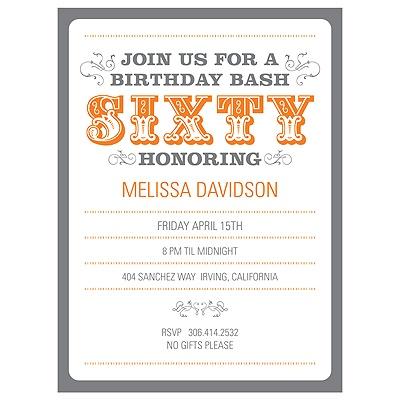 The Big 6-0 60th Birthday Party Invitations