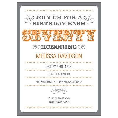 The Big 7-0 70th Birthday Party Invitations