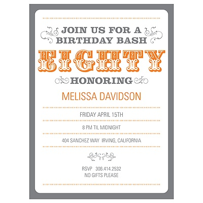 The Big 8-0 80th Birthday Party Invitations