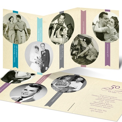 Classic Timeline Anniversary Photo Invitations