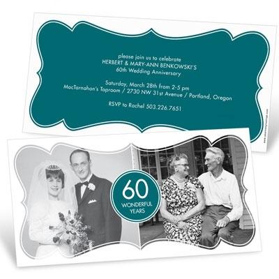Stylish Framing Photo Anniversary Invitations
