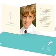 Cross Cut Out First Communion Photo Invitations