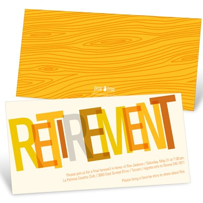 Wood Grain Finish in Orange Retirement Party Invitations