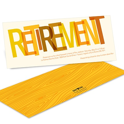 Wood Grain Finish in Orange -- Retirement Party Invitations