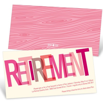 Wood Grain Finish in Pink Retirement Party Invitations
