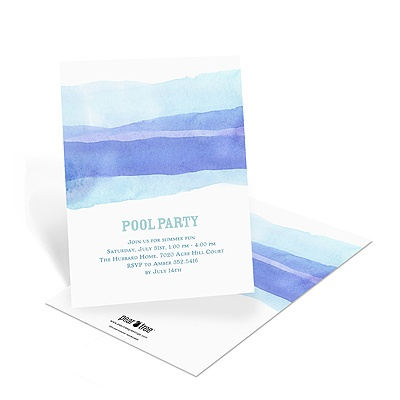 Water Colors Pool Party Invitations