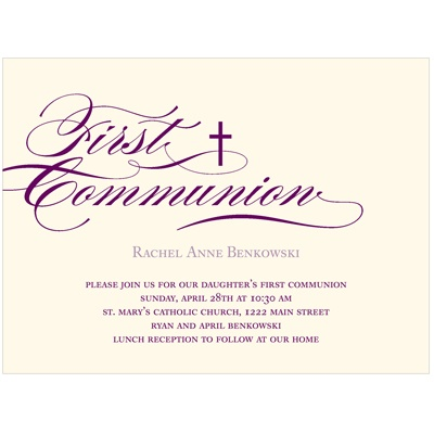 Flowing Script Elegant Communion Invitations